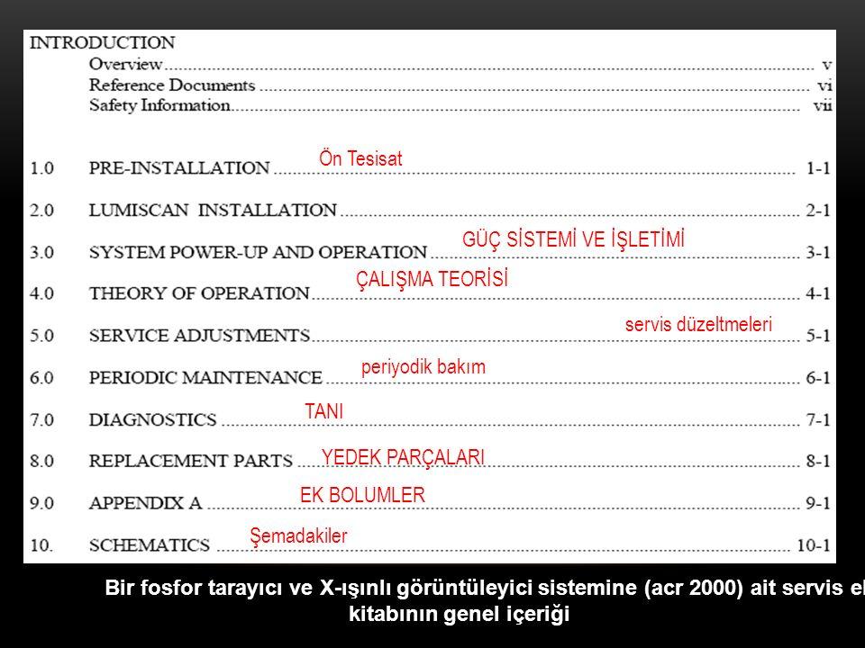 Bir fosfor tarayıcı ve X-ışınlı görüntüleyici sistemine (acr 2000) ait servis el kitabının genel içeriği Ön Tesisat GÜÇ SİSTEMİ VE İŞLETİMİ ÇALIŞMA TE