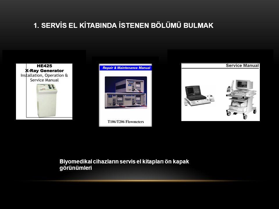 1. SERVİS EL KİTABINDA İSTENEN BÖLÜMÜ BULMAK Biyomedikal cihazların servis el kitapları ön kapak görünümleri