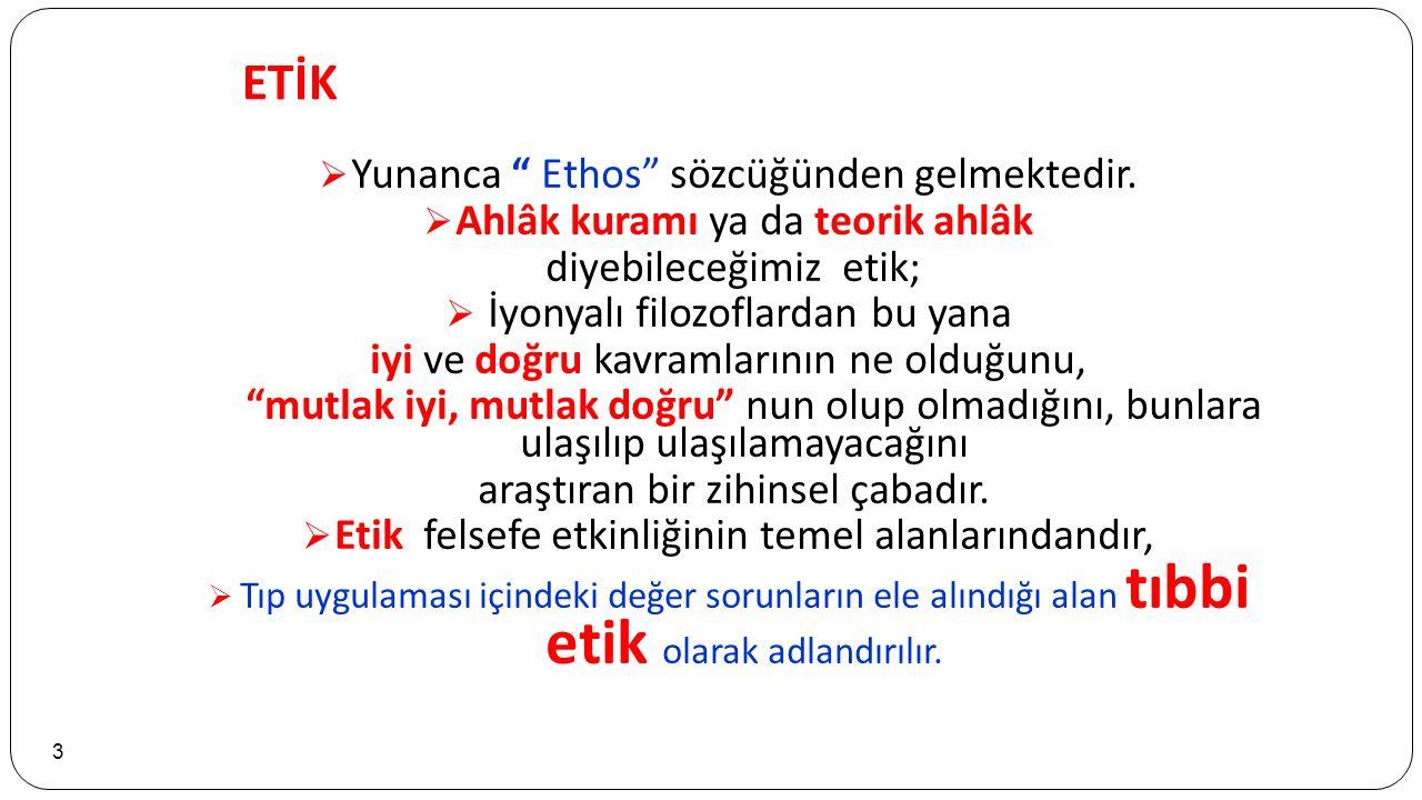 ETİK 3  Yunanca Ethos sözcüğünden gelmektedir.