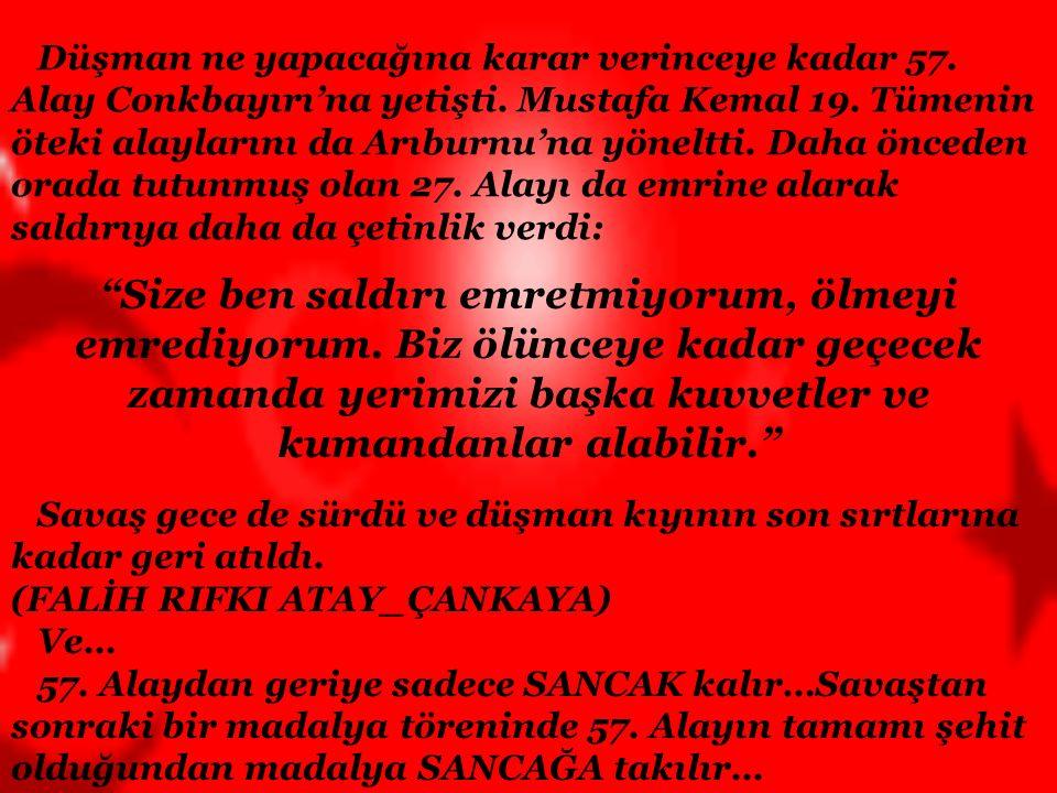25 Nisan 1915 Düşman kuvvetleri karaya çıkıyor… (Conkbayırı'nda Mustafa Kemal Paşa ve askerler arasında geçen konuşma…) -Niçin kaçıyorsunuz? -Efendim