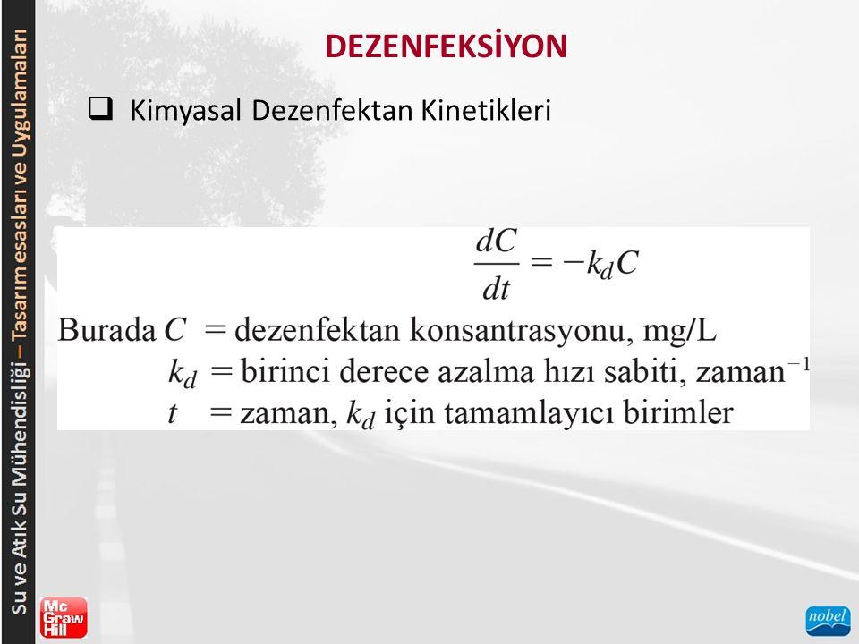 DEZENFEKSİYON  Kimyasal Dezenfektan Kinetikleri Yalancı-birinci derece azalma hızı sabitleri ile ilgili örnekler Tablo 13-3'te verilmiştir.
