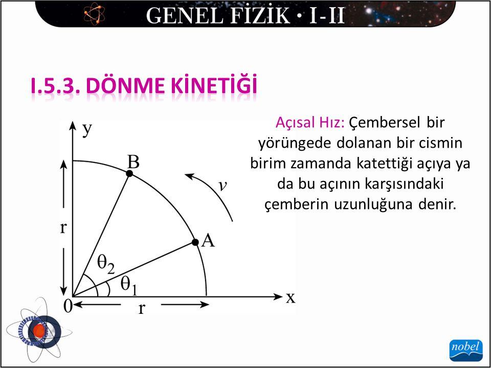 Açısal Hız: Çembersel bir yörüngede dolanan bir cismin birim zamanda katettiği açıya ya da bu açının karşısındaki çemberin uzunluğuna denir.