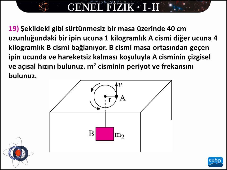 19) Şekildeki gibi sürtünmesiz bir masa üzerinde 40 cm uzunluğundaki bir ipin ucuna 1 kilogramlık A cismi diğer ucuna 4 kilogramlık B cismi bağlanıyor