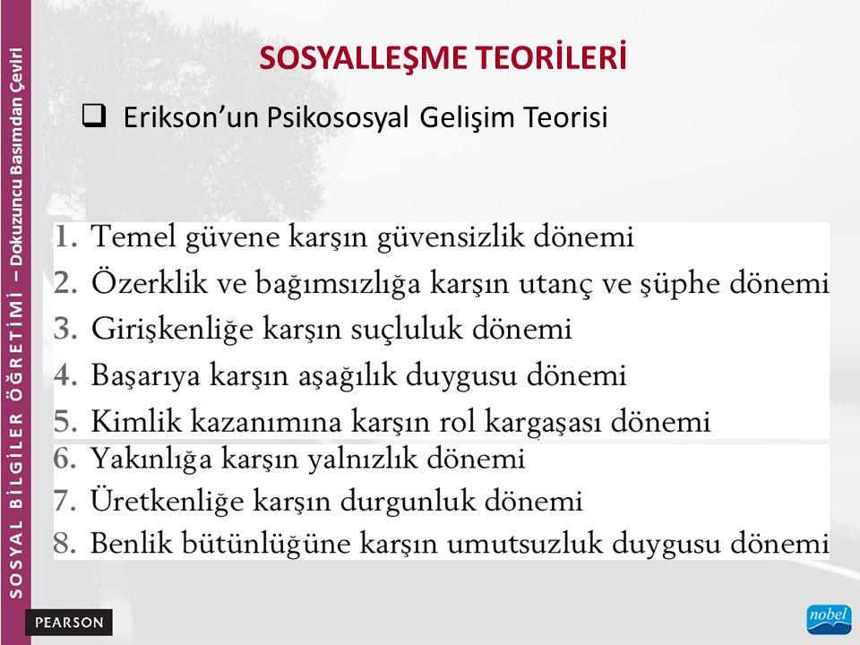 SOSYALLEŞME TEORİLERİ  Erikson'un Psikososyal Gelişim Teorisi