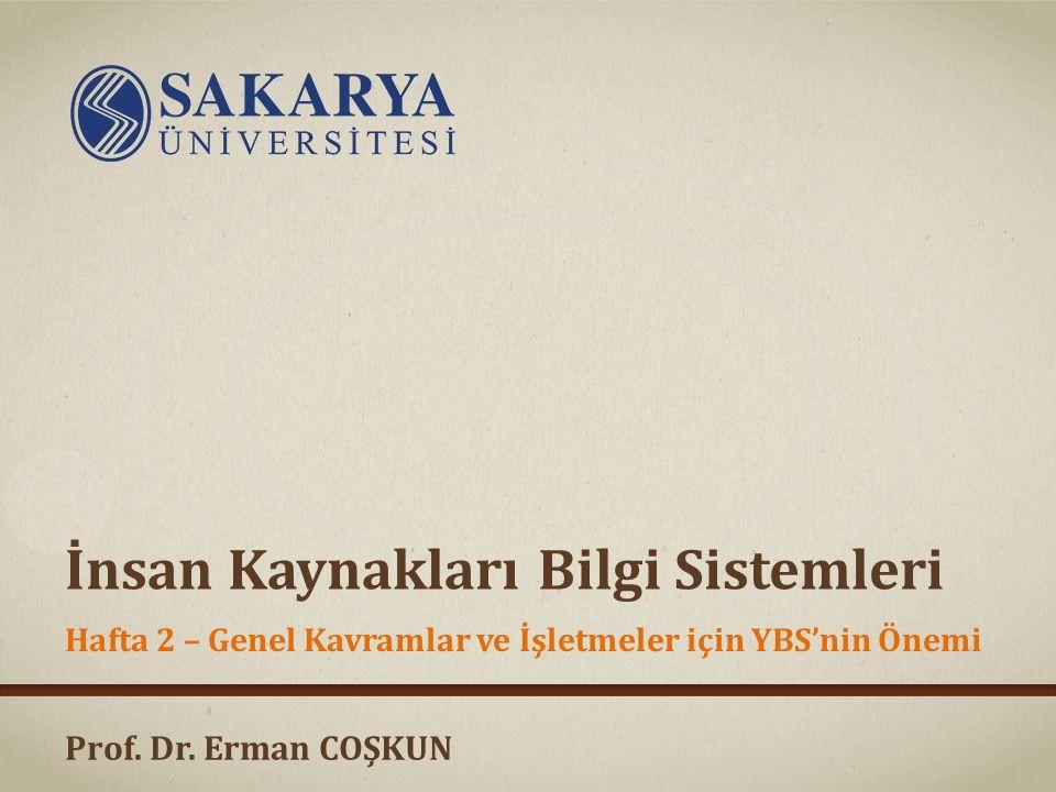Prof. Dr. Erman COŞKUN İnsan Kaynakları Bilgi Sistemleri Hafta 2 – Genel Kavramlar ve İşletmeler için YBS'nin Önemi