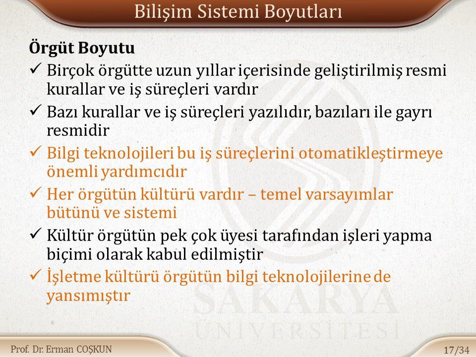 Prof. Dr. Erman COŞKUN Bilişim Sistemi Boyutları Örgüt Boyutu Birçok örgütte uzun yıllar içerisinde geliştirilmiş resmi kurallar ve iş süreçleri vardı