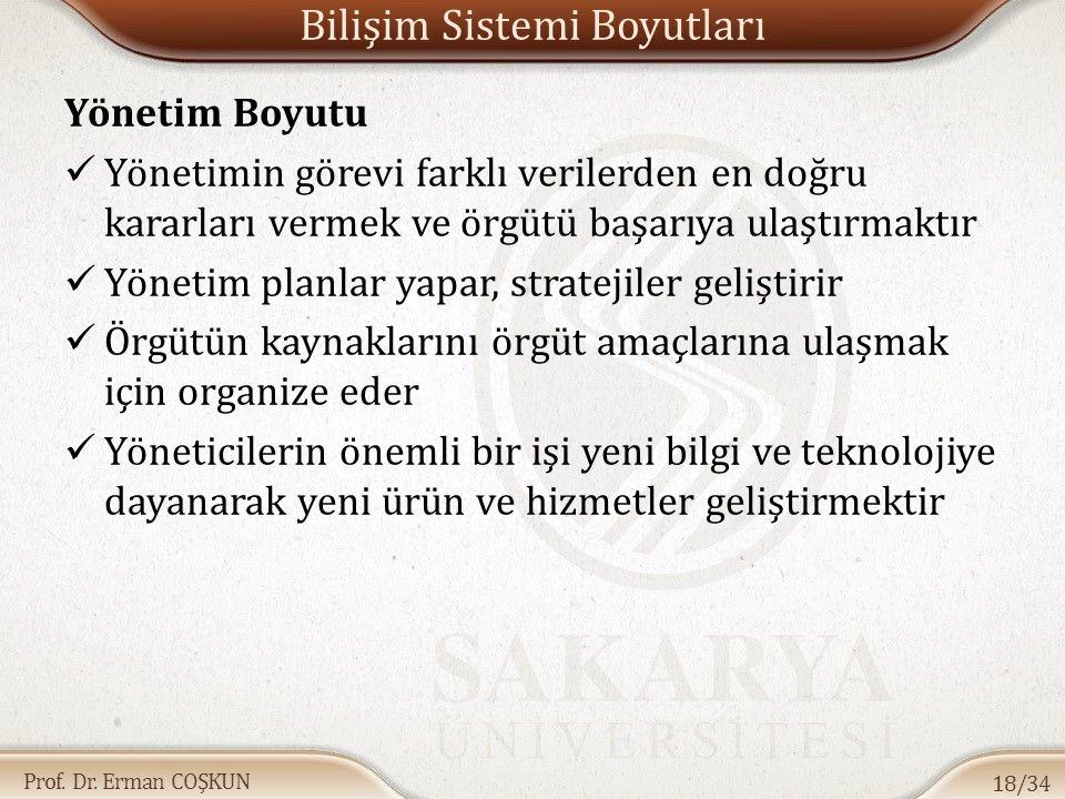 Prof. Dr. Erman COŞKUN Bilişim Sistemi Boyutları Yönetim Boyutu Yönetimin görevi farklı verilerden en doğru kararları vermek ve örgütü başarıya ulaştı