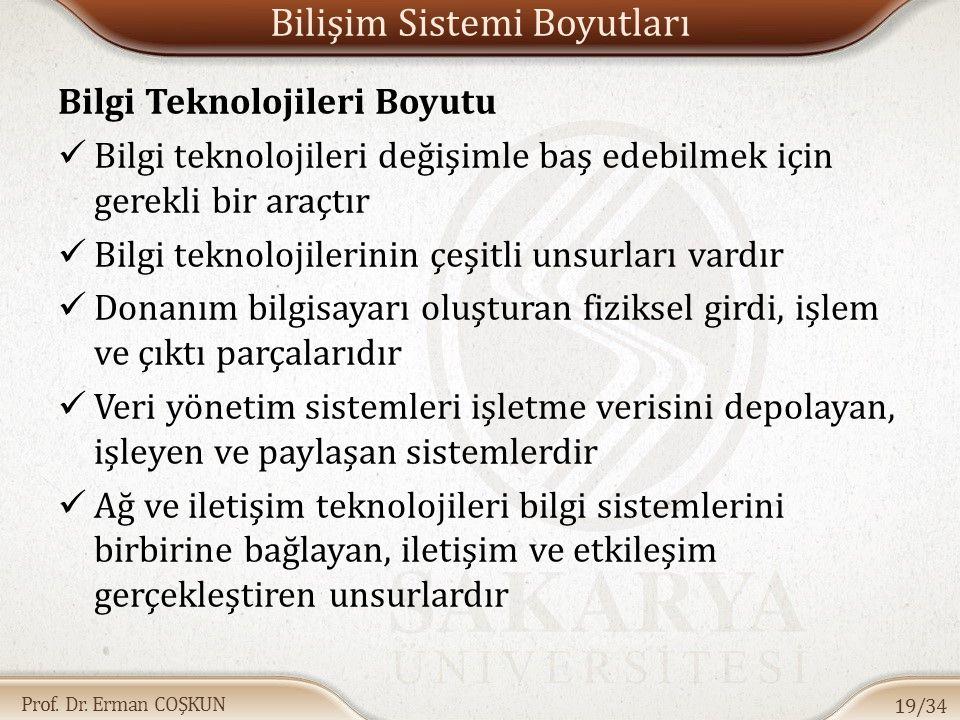 Prof. Dr. Erman COŞKUN Bilişim Sistemi Boyutları Bilgi Teknolojileri Boyutu Bilgi teknolojileri değişimle baş edebilmek için gerekli bir araçtır Bilgi