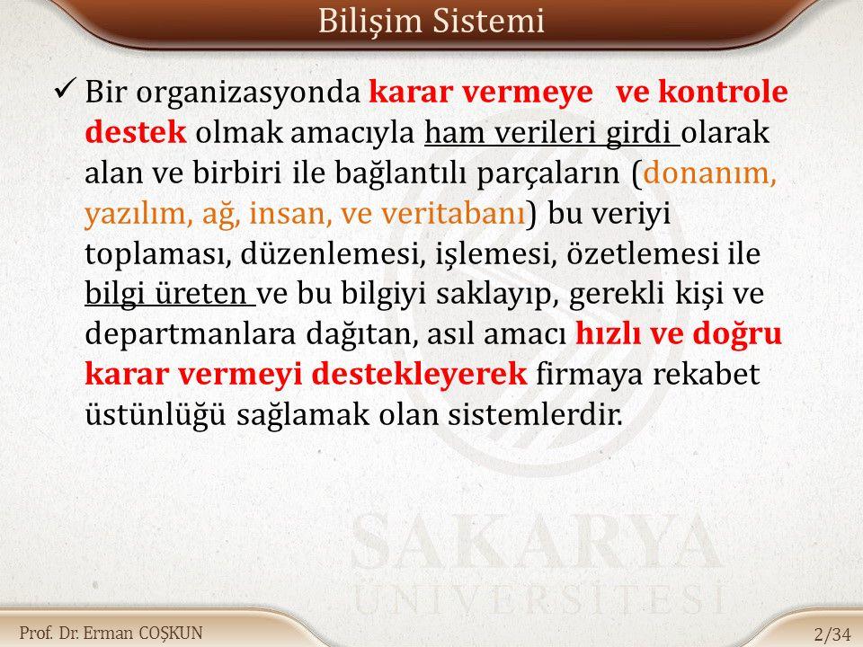 Prof. Dr. Erman COŞKUN Bilişim Sistemi Bir organizasyonda karar vermeye ve kontrole destek olmak amacıyla ham verileri girdi olarak alan ve birbiri il
