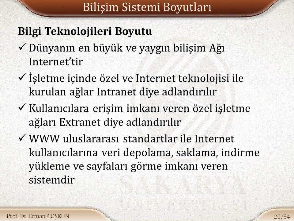 Prof. Dr. Erman COŞKUN Bilişim Sistemi Boyutları Bilgi Teknolojileri Boyutu Dünyanın en büyük ve yaygın bilişim Ağı Internet'tir İşletme içinde özel v