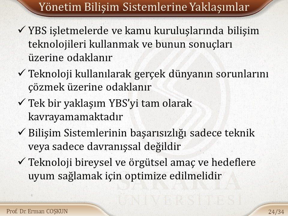 Prof. Dr. Erman COŞKUN Yönetim Bilişim Sistemlerine Yaklaşımlar YBS işletmelerde ve kamu kuruluşlarında bilişim teknolojileri kullanmak ve bunun sonuç