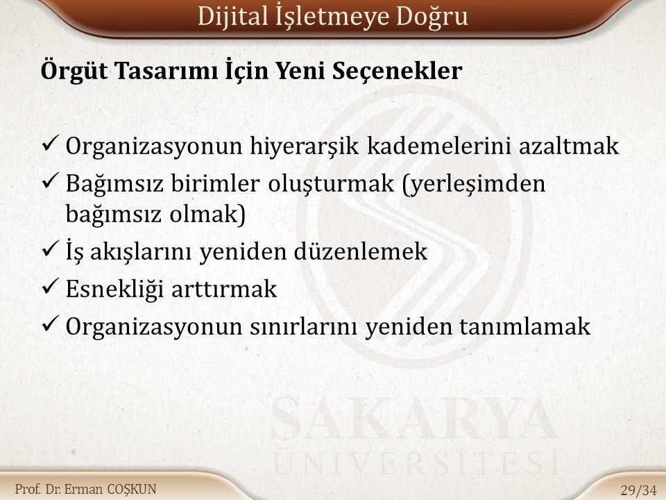 Prof. Dr. Erman COŞKUN Dijital İşletmeye Doğru Örgüt Tasarımı İçin Yeni Seçenekler Organizasyonun hiyerarşik kademelerini azaltmak Bağımsız birimler o