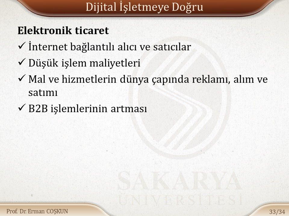 Prof. Dr. Erman COŞKUN Dijital İşletmeye Doğru Elektronik ticaret İnternet bağlantılı alıcı ve satıcılar Düşük işlem maliyetleri Mal ve hizmetlerin dü