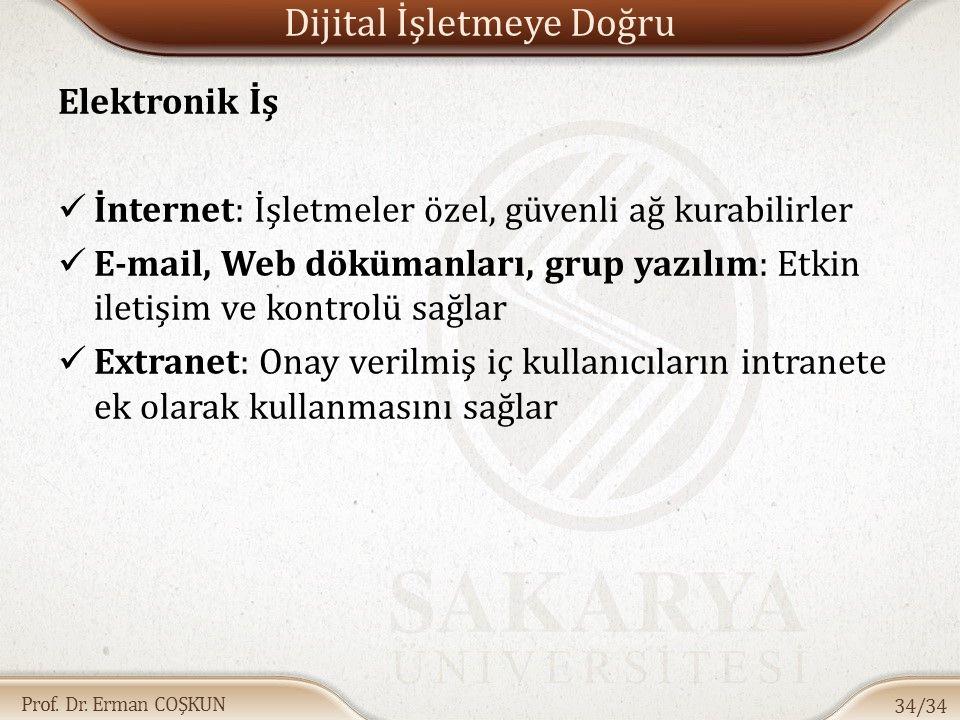 Prof. Dr. Erman COŞKUN Dijital İşletmeye Doğru Elektronik İş İnternet: İşletmeler özel, güvenli ağ kurabilirler E-mail, Web dökümanları, grup yazılım: