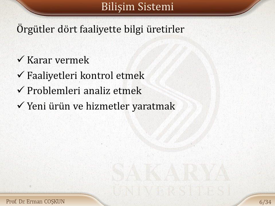 Prof. Dr. Erman COŞKUN Bilişim Sistemi Örgütler dört faaliyette bilgi üretirler Karar vermek Faaliyetleri kontrol etmek Problemleri analiz etmek Yeni