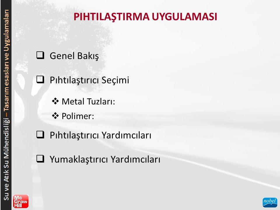 PIHTILAŞTIRMA UYGULAMASI  Genel Bakış  Pıhtılaştırıcı Seçimi  Metal Tuzları:  Polimer:  Pıhtılaştırıcı Yardımcıları  Yumaklaştırıcı Yardımcıları