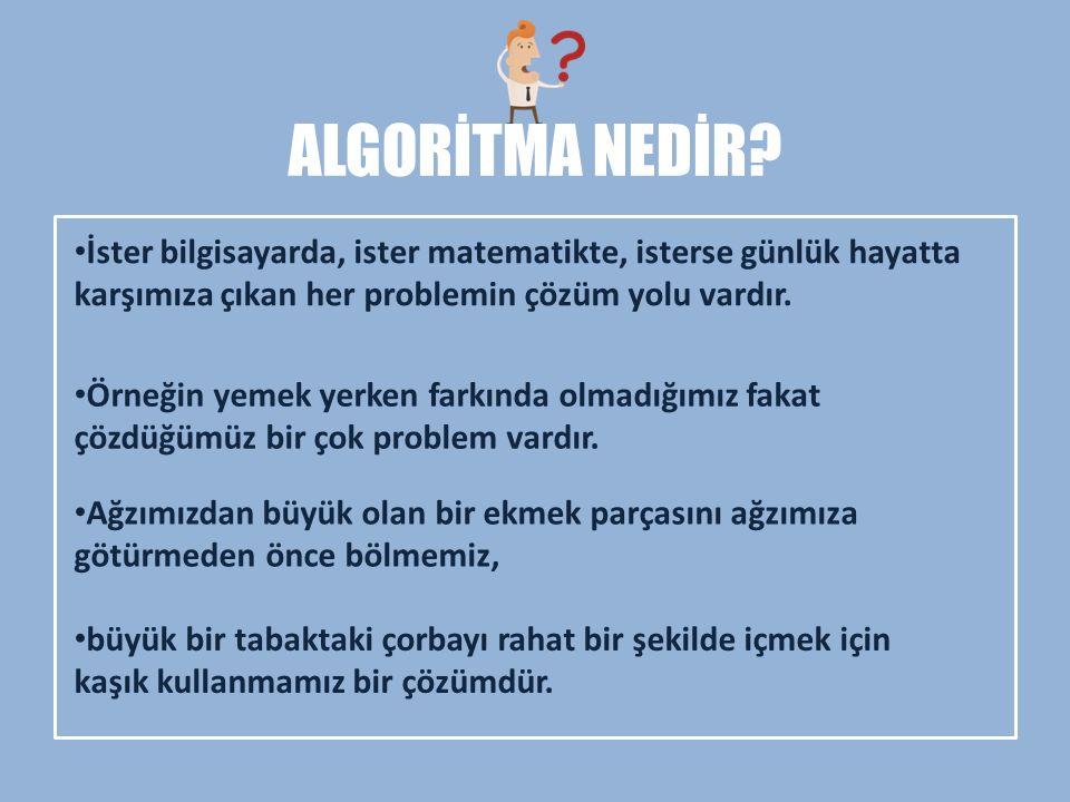 Algoritma örnekleri Çözümü; Başla Sayı A A oku A> 0 Bitir A< 0 Pozitif yaz Nötr yaz Negatif yaz E H E H Çözümde Her şey açık ve net bir şekilde görülmektedir.