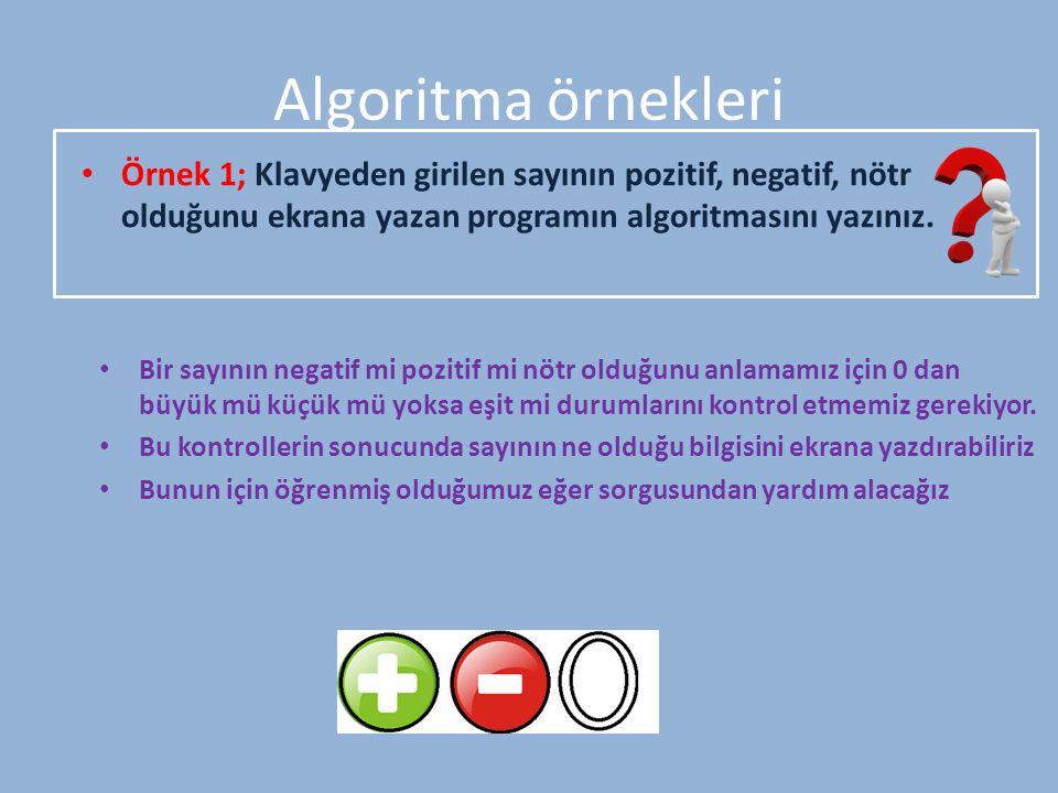 Algoritma örnekleri Örnek 1; Klavyeden girilen sayının pozitif, negatif, nötr olduğunu ekrana yazan programın algoritmasını yazınız. Bir sayının negat