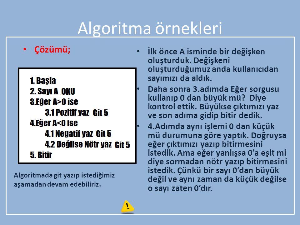 Algoritma örnekleri Çözümü; İlk önce A isminde bir değişken oluşturduk. Değişkeni oluşturduğumuz anda kullanıcıdan sayımızı da aldık. Daha sonra 3.adı