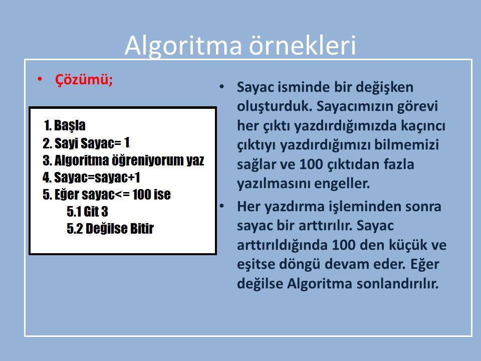 Algoritma örnekleri Çözümü; Sayac isminde bir değişken oluşturduk. Sayacımızın görevi her çıktı yazdırdığımızda kaçıncı çıktıyı yazdırdığımızı bilmemi