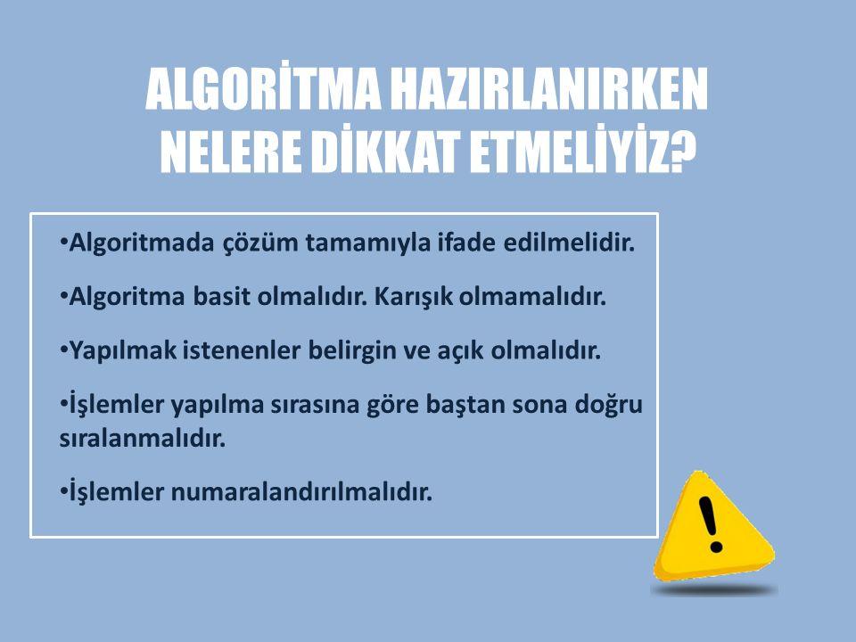 ALGORİTMA NASIL YAZILIR.
