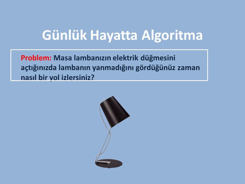 Günlük Hayatta Algoritma Çözüm: 1.Lamba çalışmıyor.