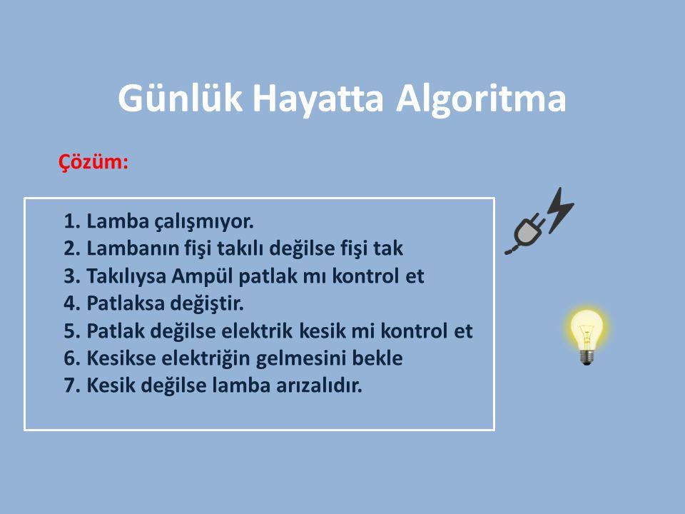 Algoritma örnekleri Çözümü; İlk önce A isminde bir değişken oluşturduk.