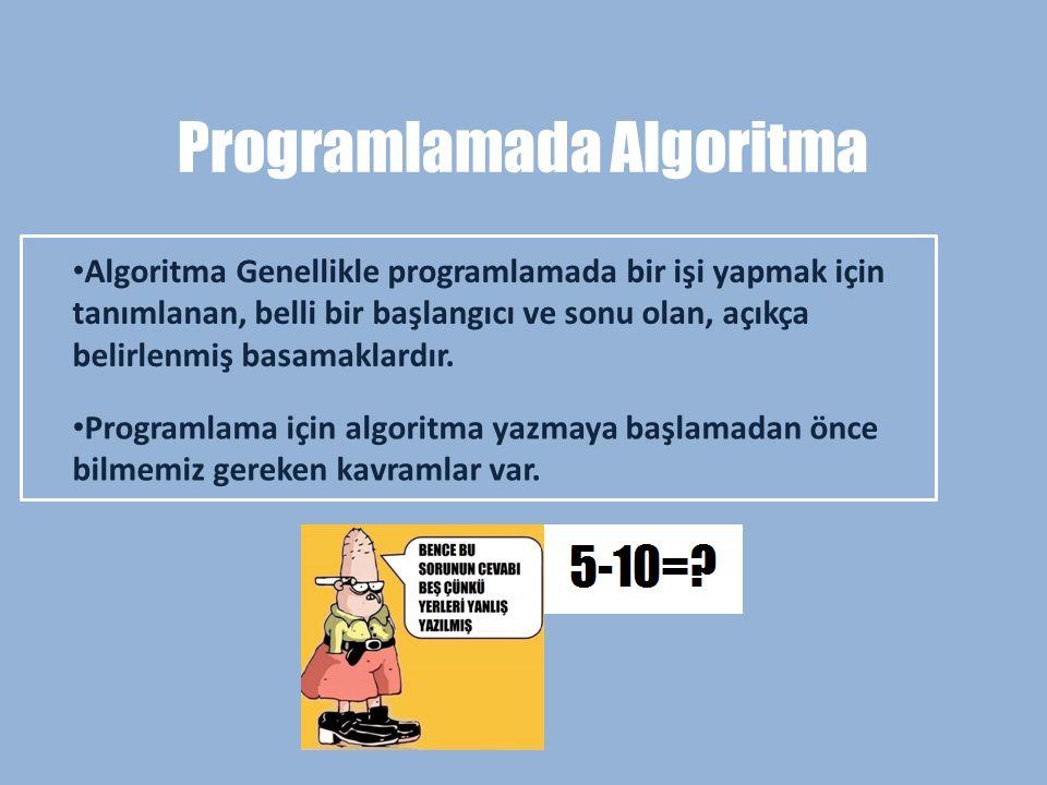 Programlamada Algoritma Algoritma Genellikle programlamada bir işi yapmak için tanımlanan, belli bir başlangıcı ve sonu olan, açıkça belirlenmiş basam