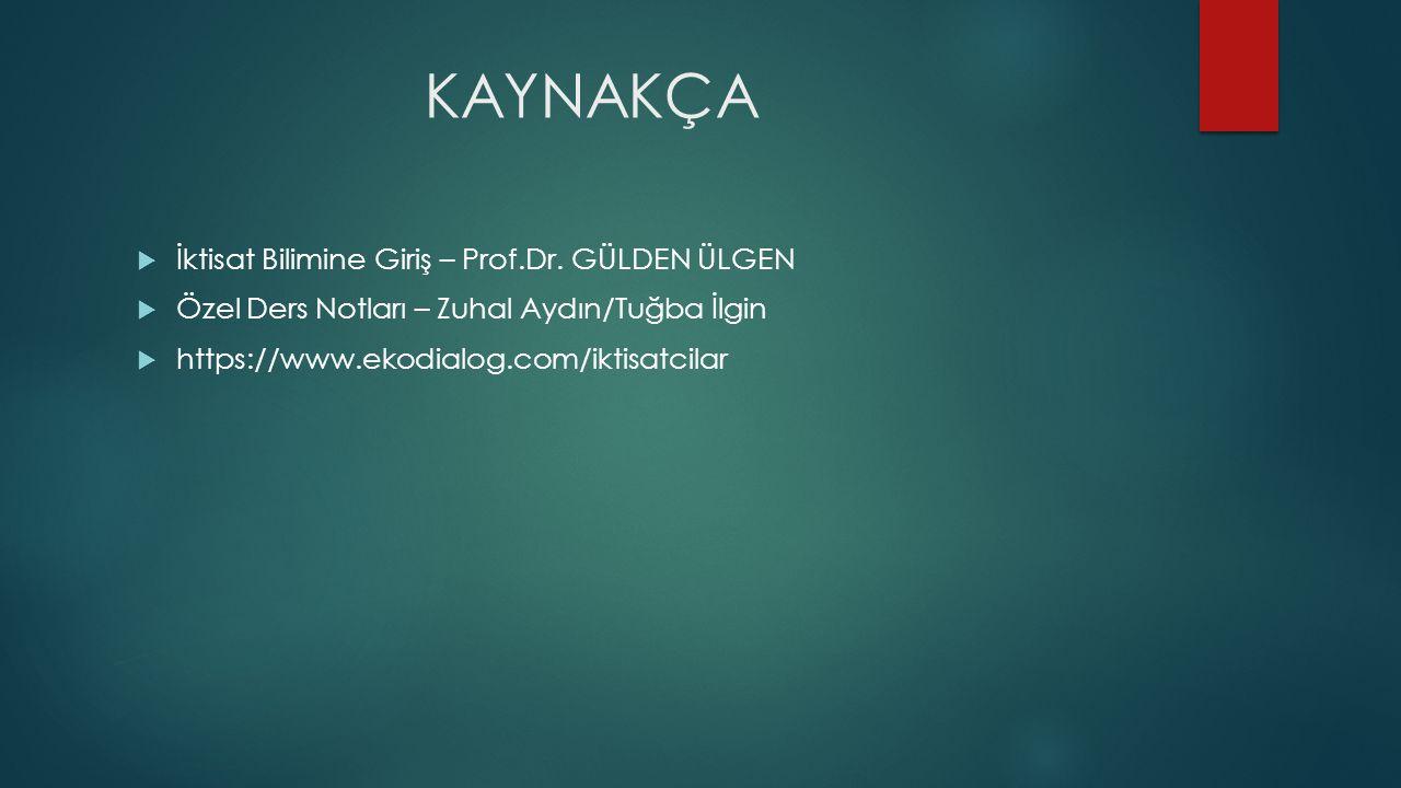 KAYNAKÇA  İktisat Bilimine Giriş – Prof.Dr. GÜLDEN ÜLGEN  Özel Ders Notları – Zuhal Aydın/Tuğba İlgin  https://www.ekodialog.com/iktisatcilar