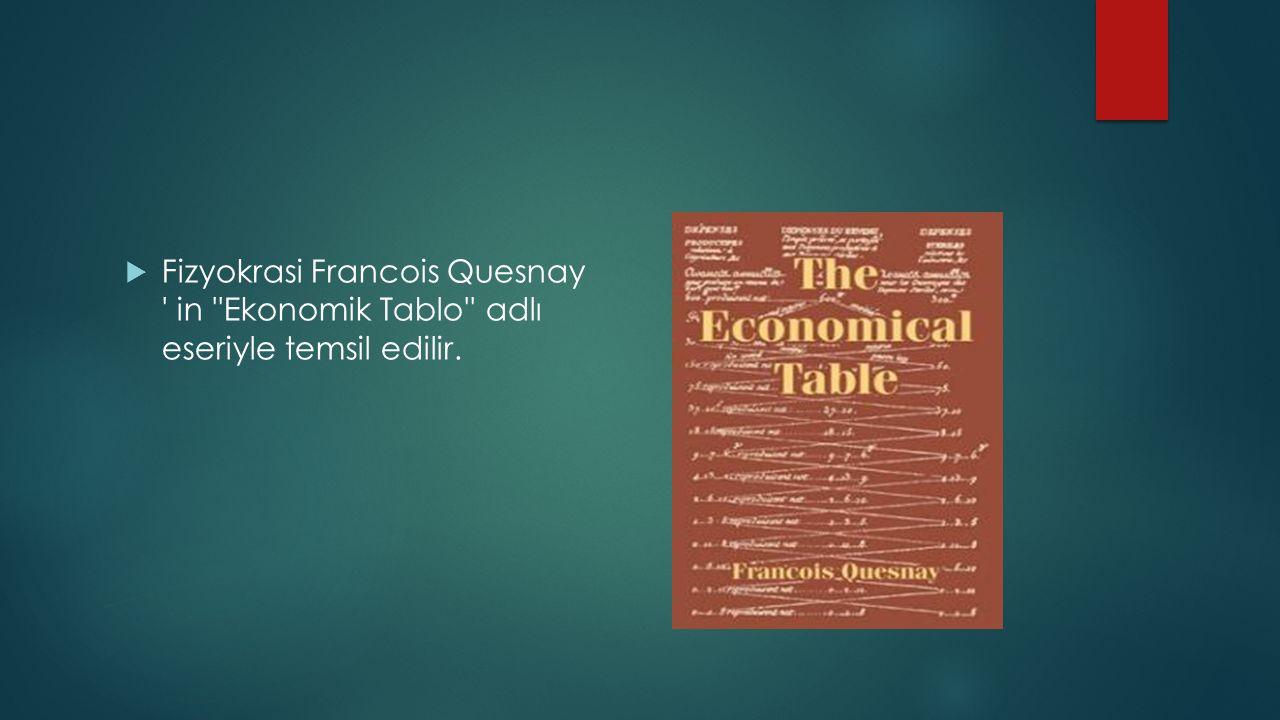 Fizyokrasi Francois Quesnay ' in ''Ekonomik Tablo'' adlı eseriyle temsil edilir.