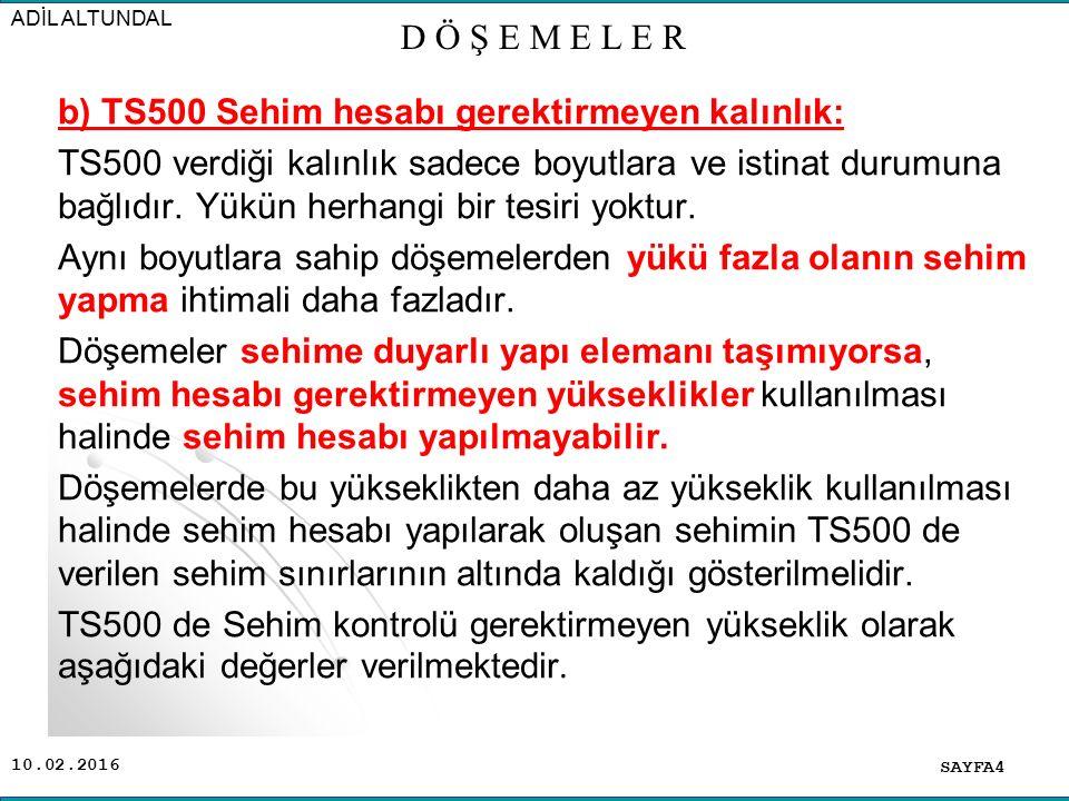 10.02.2016 b) TS500 Sehim hesabı gerektirmeyen kalınlık: TS500 verdiği kalınlık sadece boyutlara ve istinat durumuna bağlıdır.