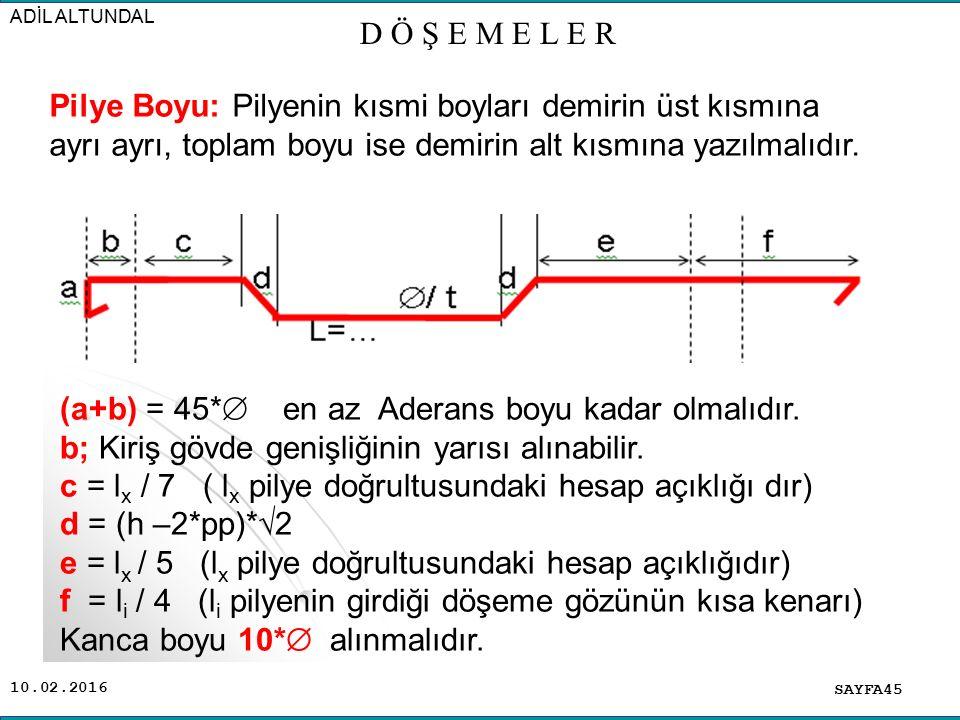 10.02.2016 SAYFA45 ADİL ALTUNDAL D Ö Ş E M E L E R Pilye Boyu: Pilyenin kısmi boyları demirin üst kısmına ayrı ayrı, toplam boyu ise demirin alt kısmına yazılmalıdır.