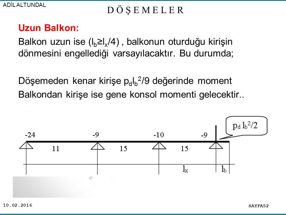 10.02.2016 Uzun Balkon: Balkon uzun ise (l b ≥l x /4), balkonun oturduğu kirişin dönmesini engellediği varsayılacaktır.