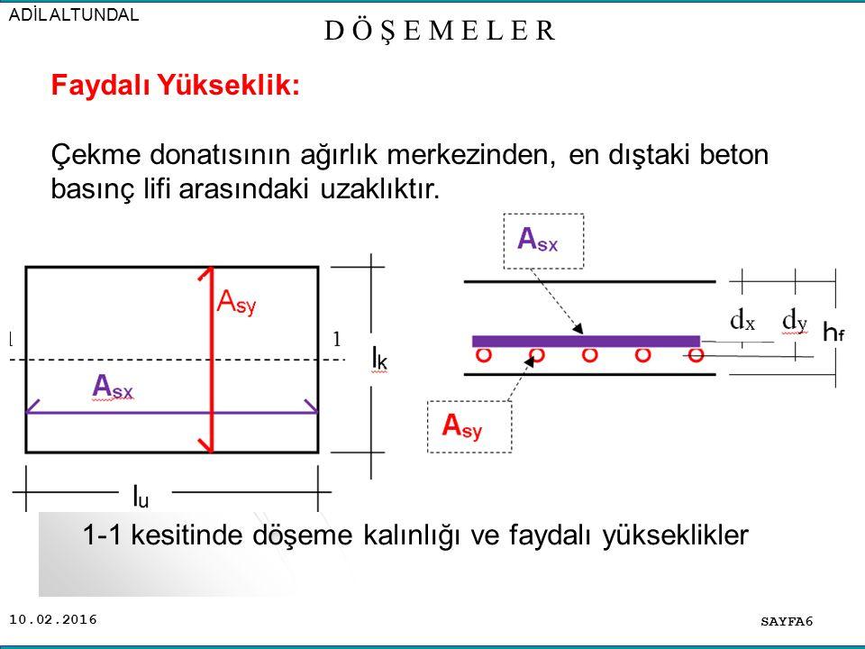 10.02.2016 SAYFA6 ADİL ALTUNDAL D Ö Ş E M E L E R Faydalı Yükseklik: Çekme donatısının ağırlık merkezinden, en dıştaki beton basınç lifi arasındaki uzaklıktır.