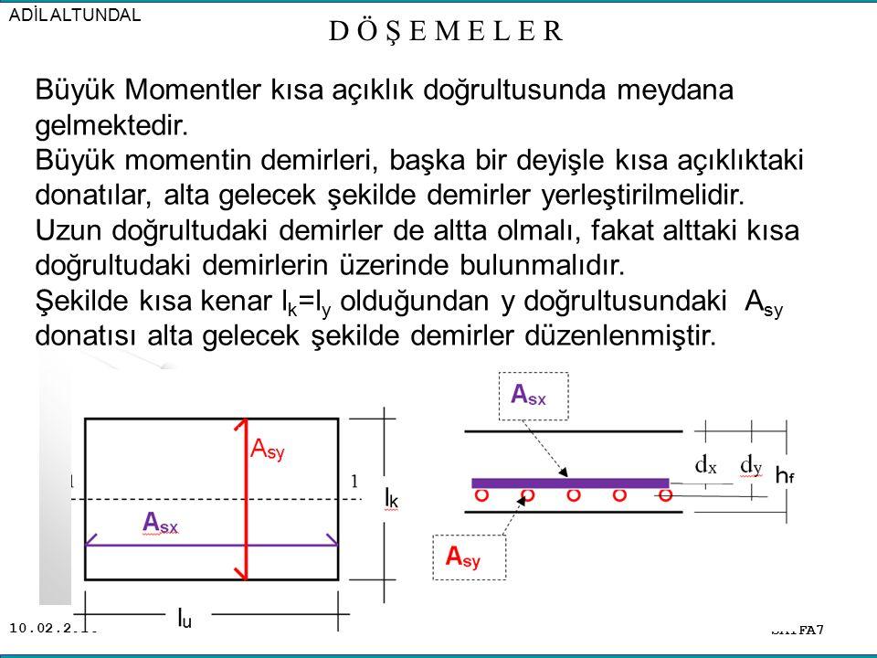 10.02.2016 Döşeme kalınlığı h f, beton net örtü kalınlığı c c, beton örtü kalınlığı veya paspayı (c) olması halinde; Kısa doğrultu demirleri çapı  1, faydalı yüksekliği d y Uzun doğrultu demirleri çapı  2, faydalı yüksekliği d x olması halinde faydalı yükseklikler; d y = h f – ( c c +  1 /2 ) d x = h f –  c c +  1 +(  2 )/2  Net beton örtü kalınlığının 1,5 cm, donatı çaplarının da yaklaşık olarak 10mm olduğu düşünülürse; Büyük Moment (Kısa doğrultuda) d y = h f – 2 cm Küçük Moment (Uzun doğrultuda) d x = h f – 3 cm SAYFA8 ADİL ALTUNDAL D Ö Ş E M E L E R