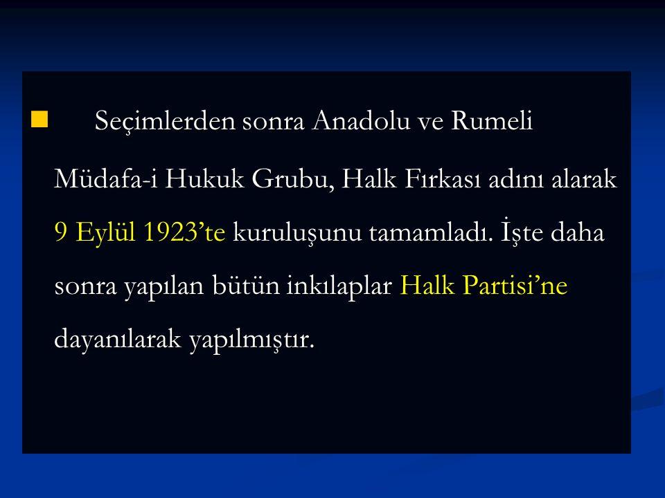 4-PARTİLER VE ÇOK PARTİLİ HAYATA GEÇİŞ ÇALIŞMALARI VE SONUÇLARI a- Çok Partili Hayata Geçiş Çalışmaları CUMHURİYET HALK FIRKASI CUMHURİYET HALK FIRKASI TBMM'nin açılmasından sonra Mustafa Kemal Anadolu ve Rumeli Müdafa-i Hukuk Gurubu adı altın da mecliste çalışmaya başladı.
