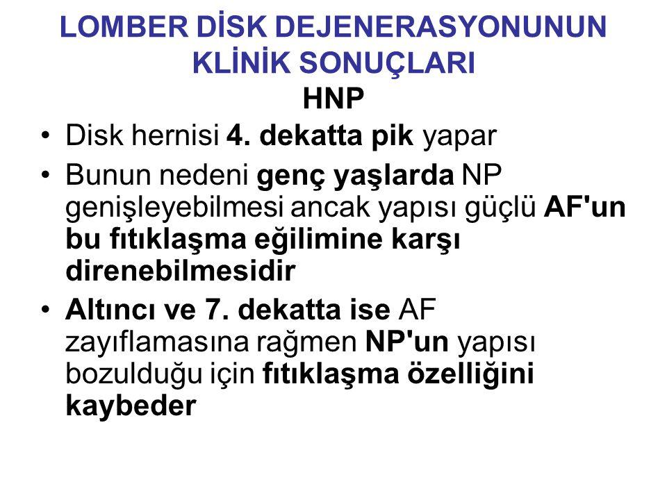 LOMBER DİSK DEJENERASYONUNUN KLİNİK SONUÇLARI HNP Disk hernisi 4.
