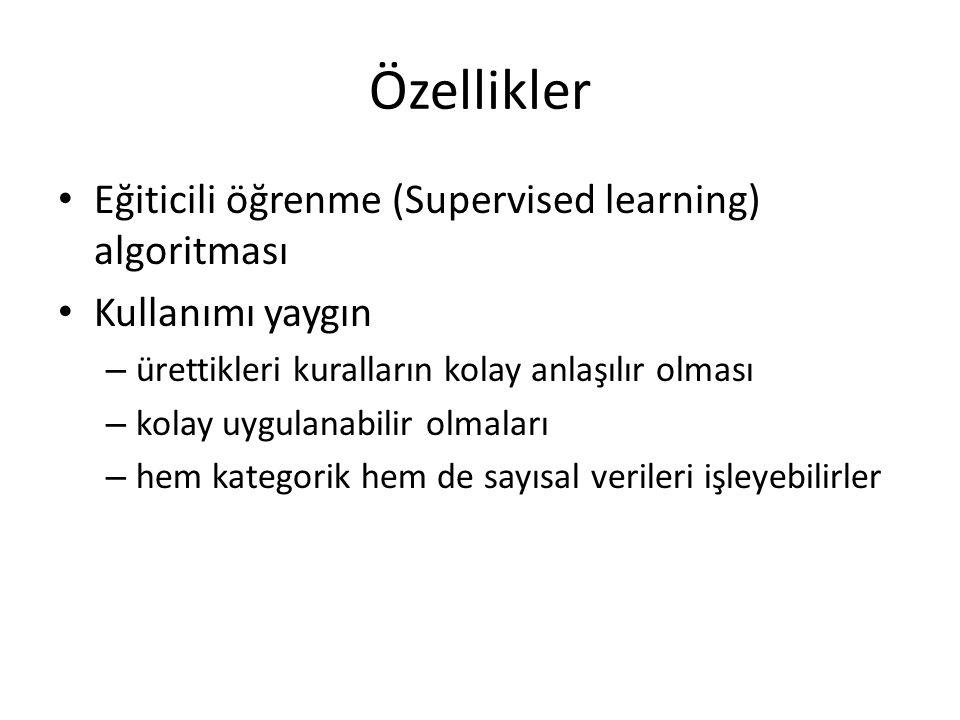 Özellikler Eğiticili öğrenme (Supervised learning) algoritması Kullanımı yaygın – ürettikleri kuralların kolay anlaşılır olması – kolay uygulanabilir