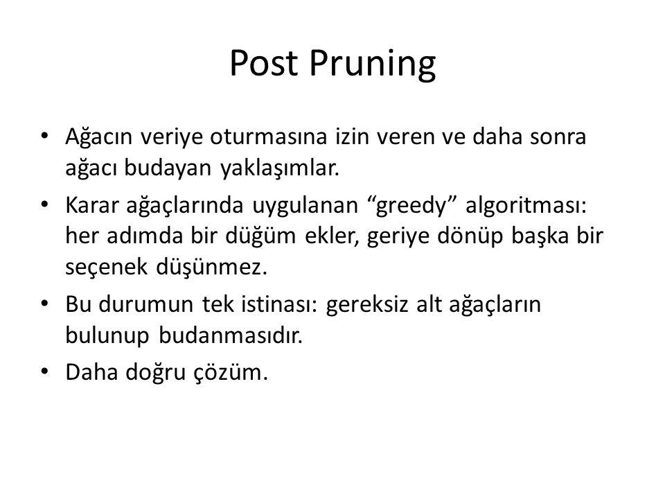 """Post Pruning Ağacın veriye oturmasına izin veren ve daha sonra ağacı budayan yaklaşımlar. Karar ağaçlarında uygulanan """"greedy"""" algoritması: her adımda"""