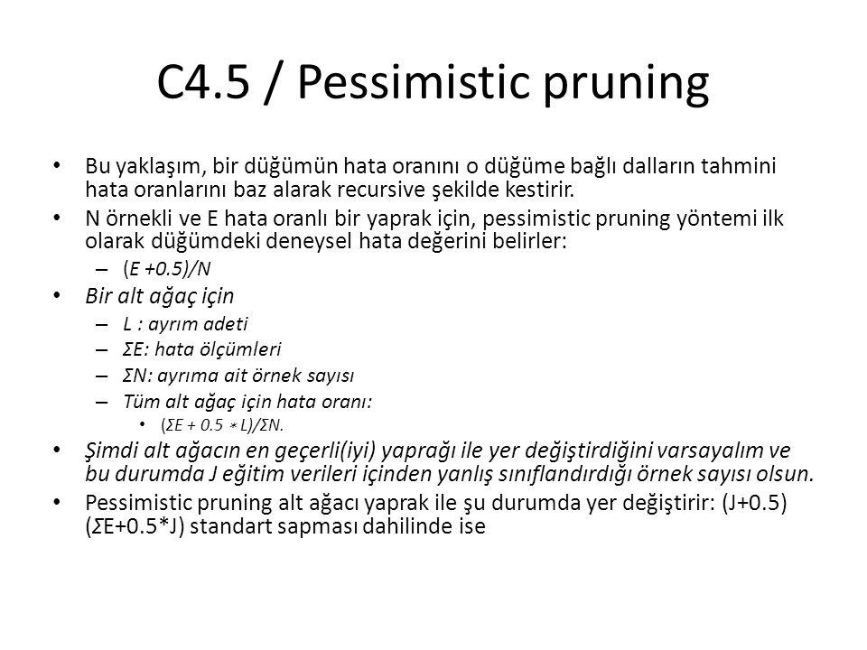 C4.5 / Pessimistic pruning Bu yaklaşım, bir düğümün hata oranını o düğüme bağlı dalların tahmini hata oranlarını baz alarak recursive şekilde kestirir
