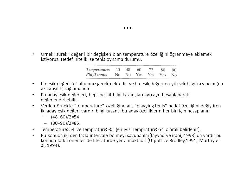 … Örnek: sürekli değerli bir değişken olan temperature özelliğini öğrenmeye eklemek istiyoruz. Hedef nitelik ise tenis oynama durumu. bir eşik değeri