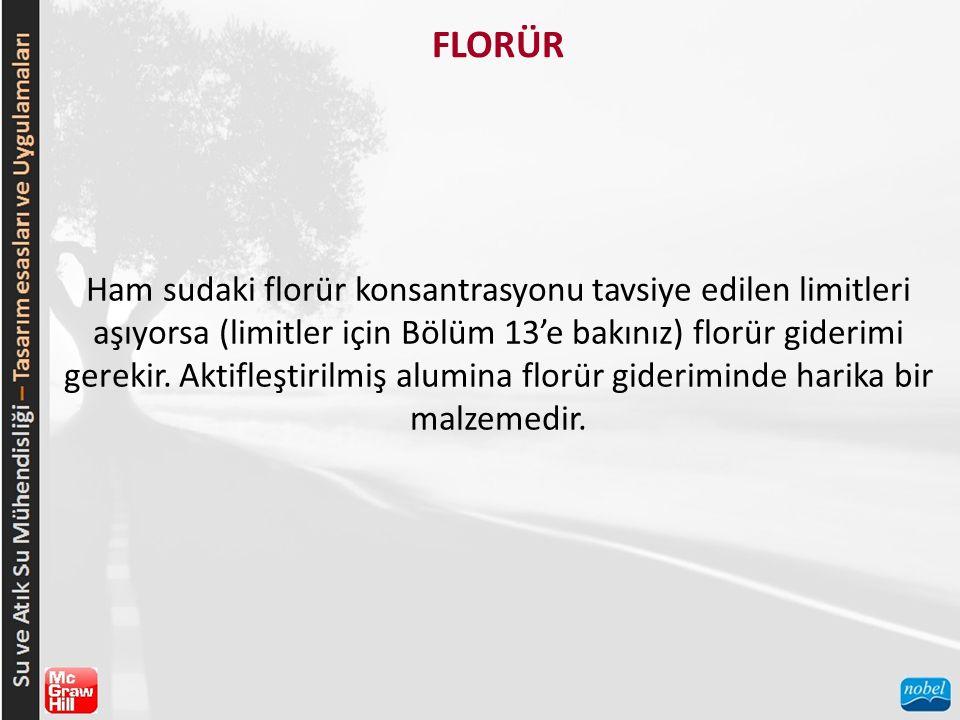 FLORÜR Ham sudaki florür konsantrasyonu tavsiye edilen limitleri aşıyorsa (limitler için Bölüm 13'e bakınız) florür giderimi gerekir. Aktifleştirilmiş