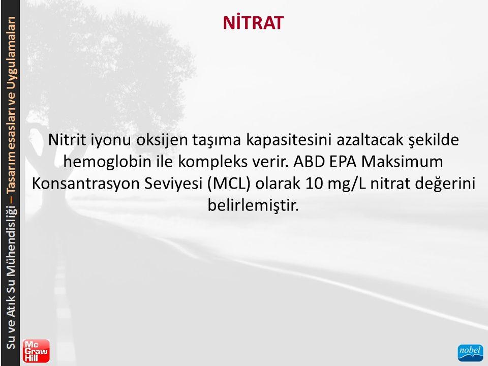 NİTRAT Nitrit iyonu oksijen taşıma kapasitesini azaltacak şekilde hemoglobin ile kompleks verir. ABD EPA Maksimum Konsantrasyon Seviyesi (MCL) olarak
