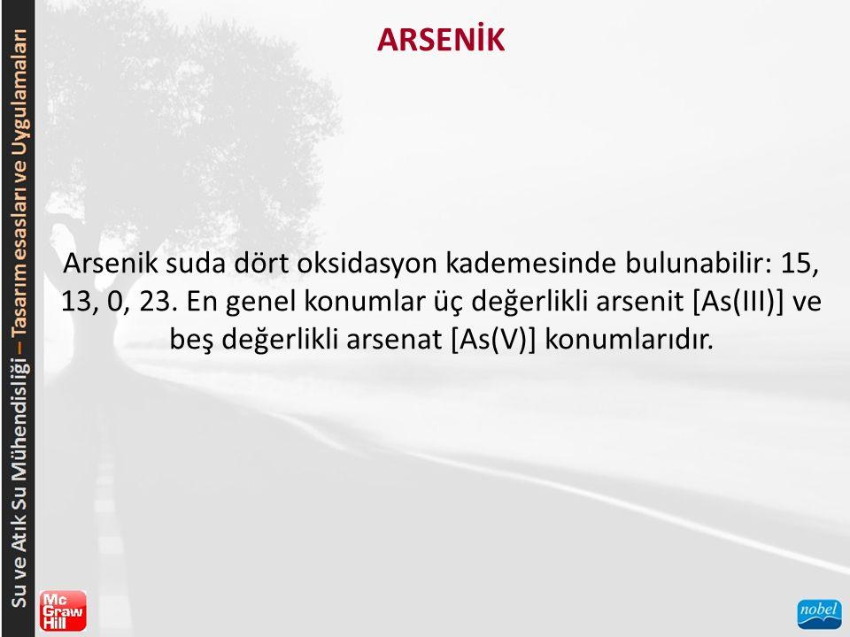 ARSENİK Arsenik suda dört oksidasyon kademesinde bulunabilir: 15, 13, 0, 23. En genel konumlar üç değerlikli arsenit [As(III)] ve beş değerlikli arsen