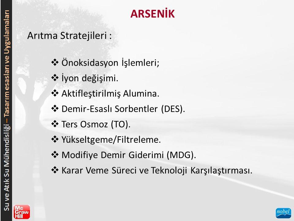 ARSENİK Arıtma Stratejileri :  Önoksidasyon İşlemleri;  İyon değişimi.  Aktifleştirilmiş Alumina.  Demir-Esaslı Sorbentler (DES).  Ters Osmoz (TO