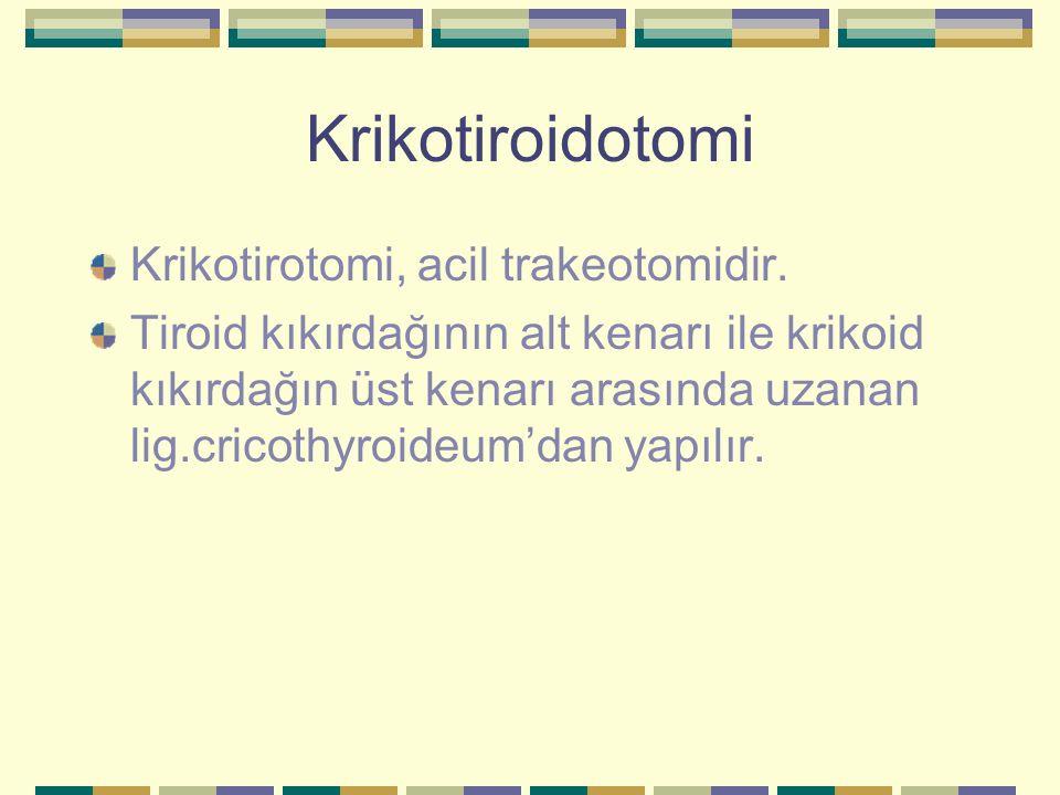 Krikotiroidotomi Krikotirotomi, acil trakeotomidir. Tiroid kıkırdağının alt kenarı ile krikoid kıkırdağın üst kenarı arasında uzanan lig.cricothyroide
