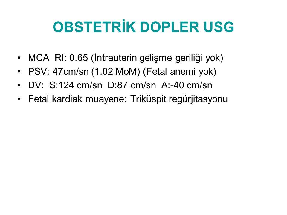 OBSTETRİK USG Prezentasyon : Baş FKA: + BPD: 81 mm 32+6 hafta HC: 297 mm 32+6 hafta AC: 294 mm 33+3 hafta FL: 65 mm 33+4 hafta EFBW: 2174 gr