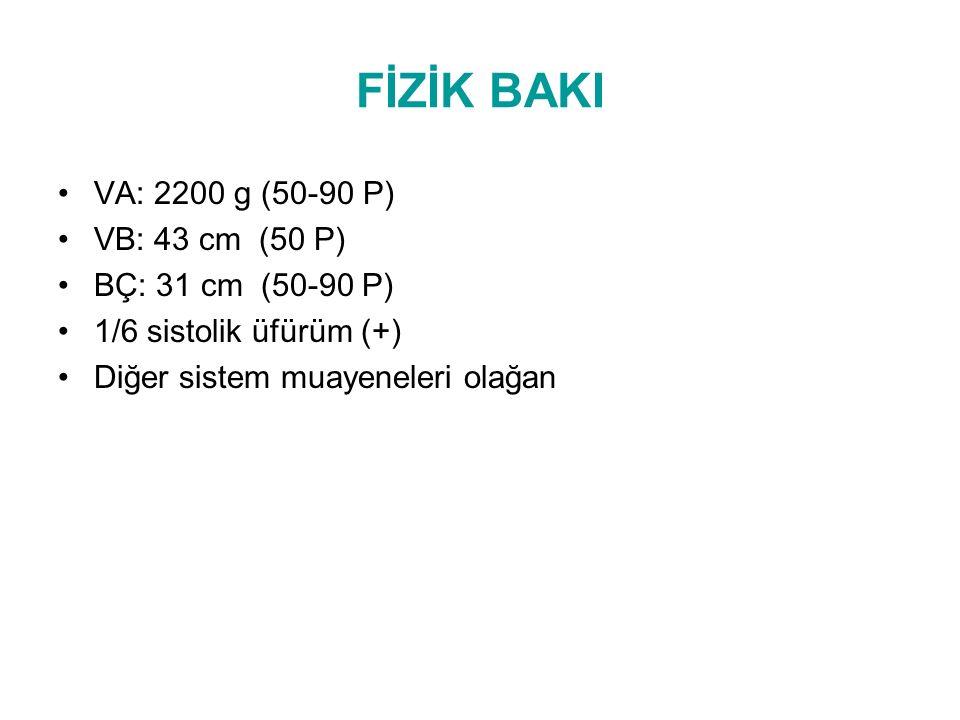 LABORATUVAR Tam kan sayımı Hb:12,4 BK:13700 Tromb:201000 CRP(-) Biyokimya:Normal Kan gazı: PH:7.44 PCO2:32 HCO3:21.7 BE:-2.5 Kranial USG:Normal EKO:Geniş sekundum ASD Akciğer grafisi:Normal