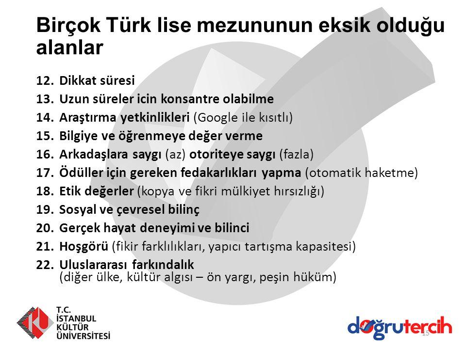 Birçok Türk lise mezununun eksik olduğu alanlar 12.Dikkat süresi 13.Uzun süreler icin konsantre olabilme 14.Araştırma yetkinlikleri (Google ile kısıtl