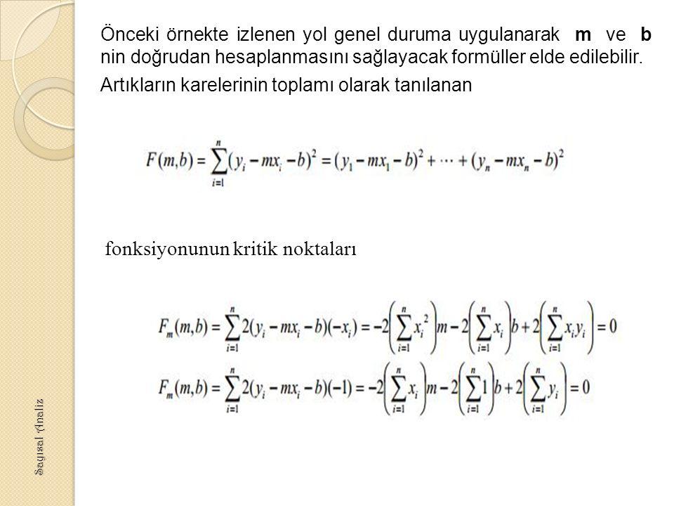 Önceki örnekte izlenen yol genel duruma uygulanarak m ve b nin doğrudan hesaplanmasını sağlayacak formüller elde edilebilir.